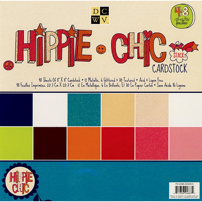 Набор бумаги для скрапбукинга Hippie Chic Solid Cardstock (20х20 см.) цена