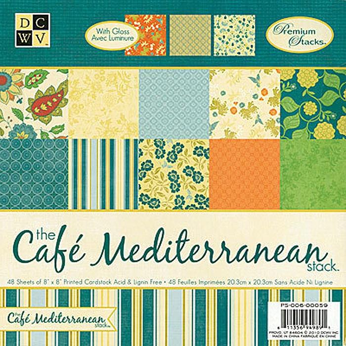 Набор бумаги для скрапбукинга Cafe Mediterranean  (20х20 см.) цена