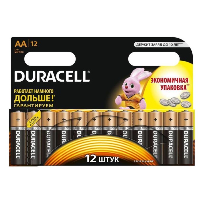 Батарейки Duracell Basic пальчиковые АА LR6 (12 штук в упаковке) батарейки пальчиковые duracell аа lr6 в блистере 2 шт