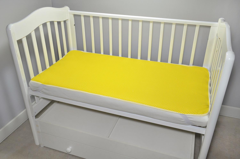 цена Непромокаемый наматрасник 120х60 Желтый горошек онлайн в 2017 году