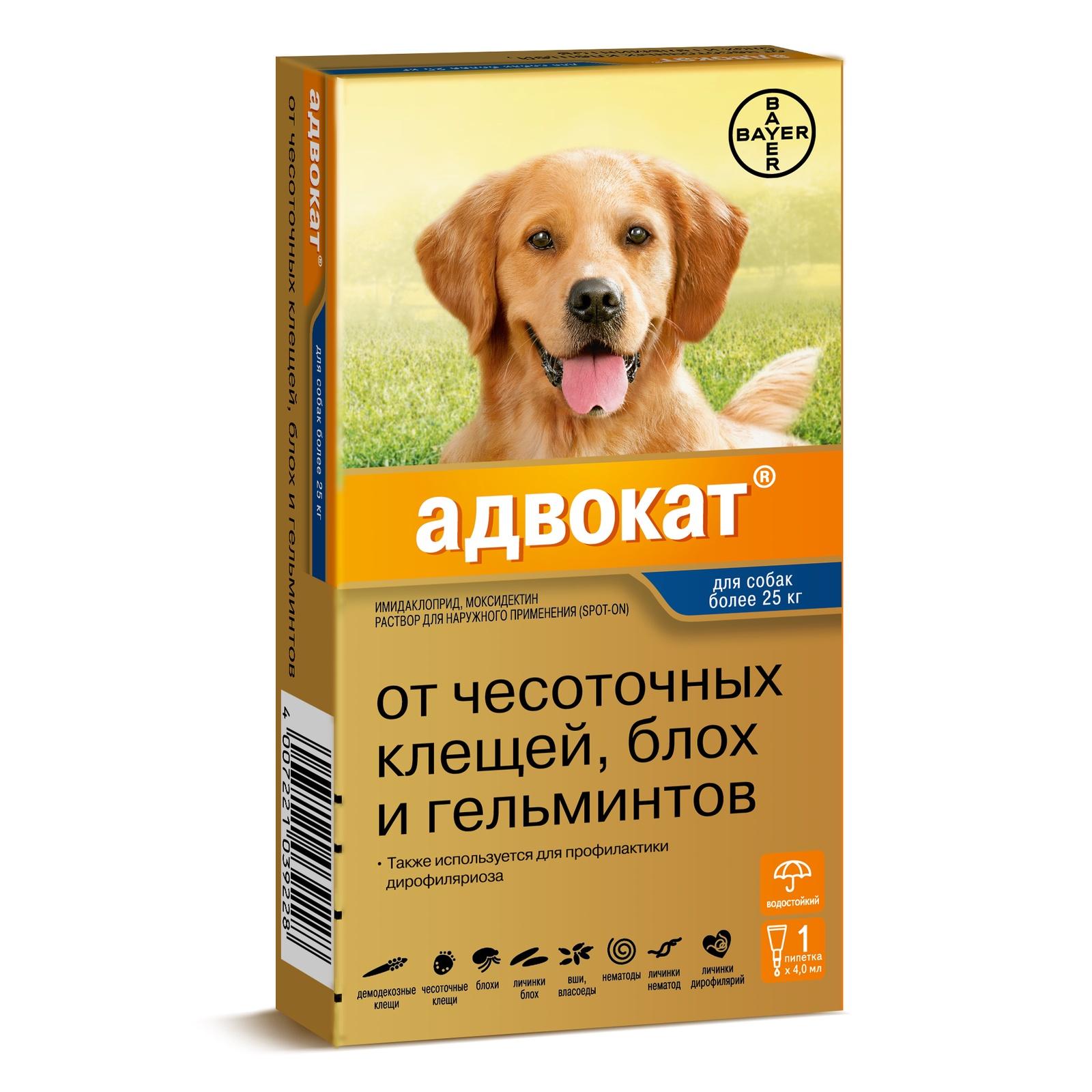 Bayer Golden Line Адвокат 400 для щенков и собак от клещей,блох,глистов (масса более 25 кг) (3 пипетки)