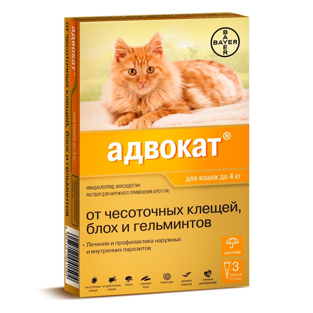Bayer Golden Line Адвокат для котят и кошек, от клещей и блох (массой до 4 кг) (3 пипетки)