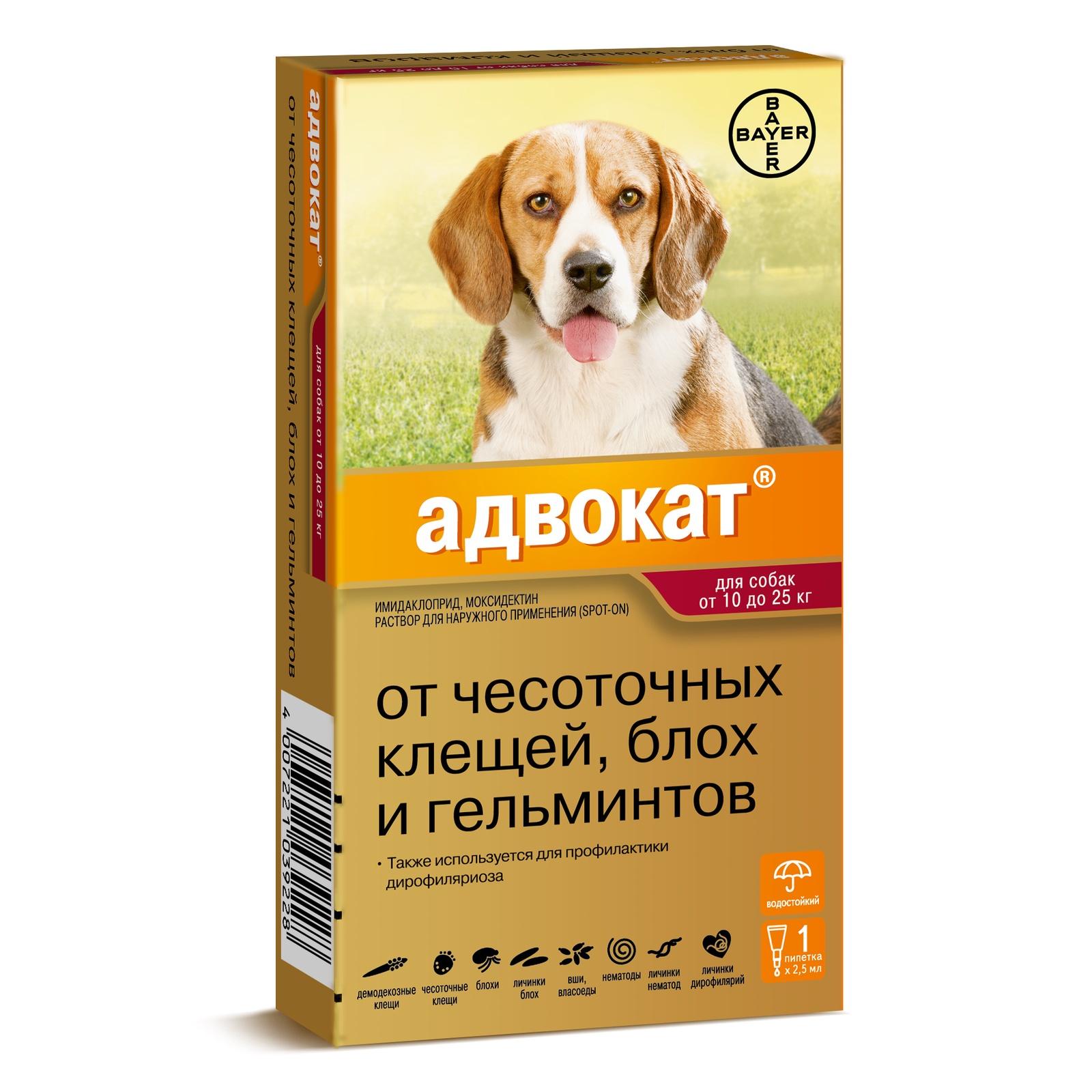 Bayer Golden Line Адвокат 250 для щенков и собак от клещей,блох,глистов (массой от 10кг до 25 кг) (3 пипетки)