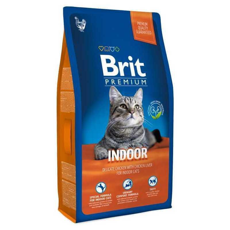 Корм BRIT Premium для кошек домашнего содержания, 800г попугаи для домашнего содержания