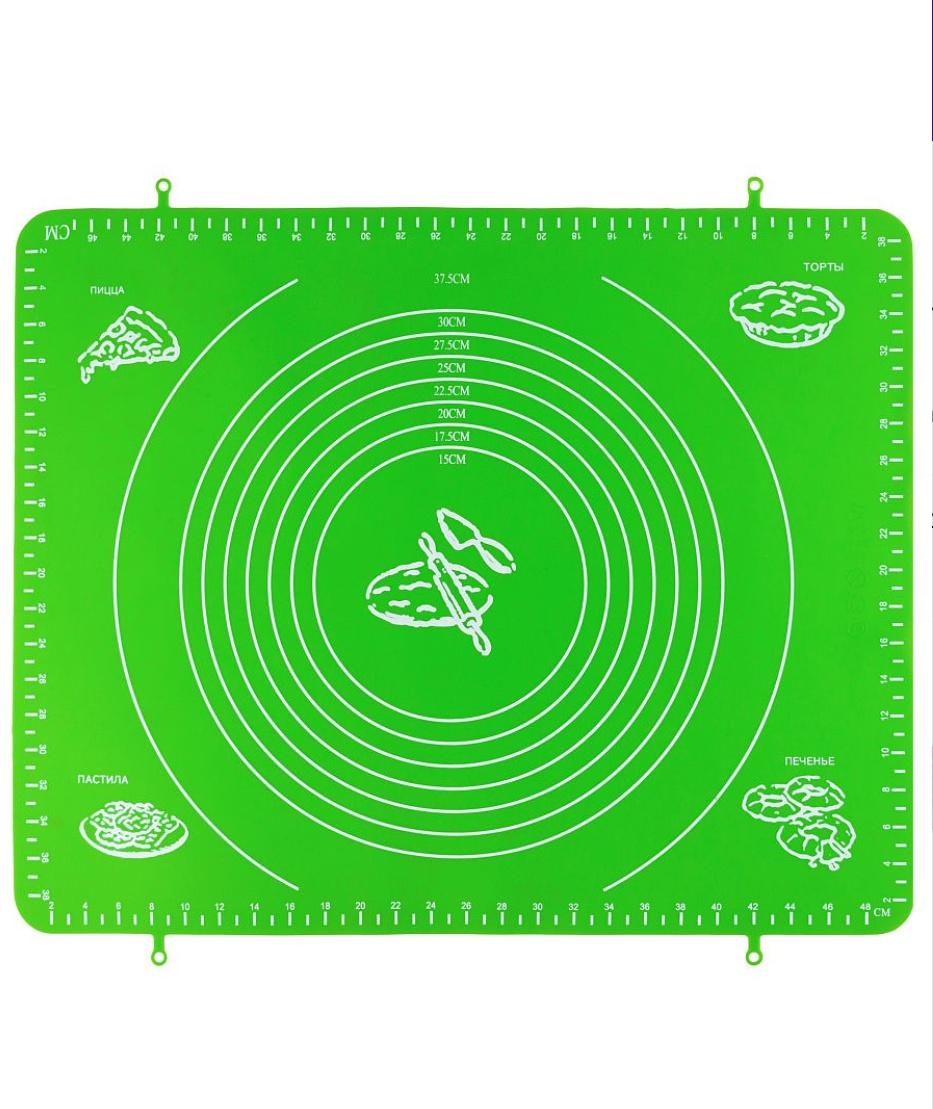 Коврик силиконовый для раскатки теста,50х40 см зеленый