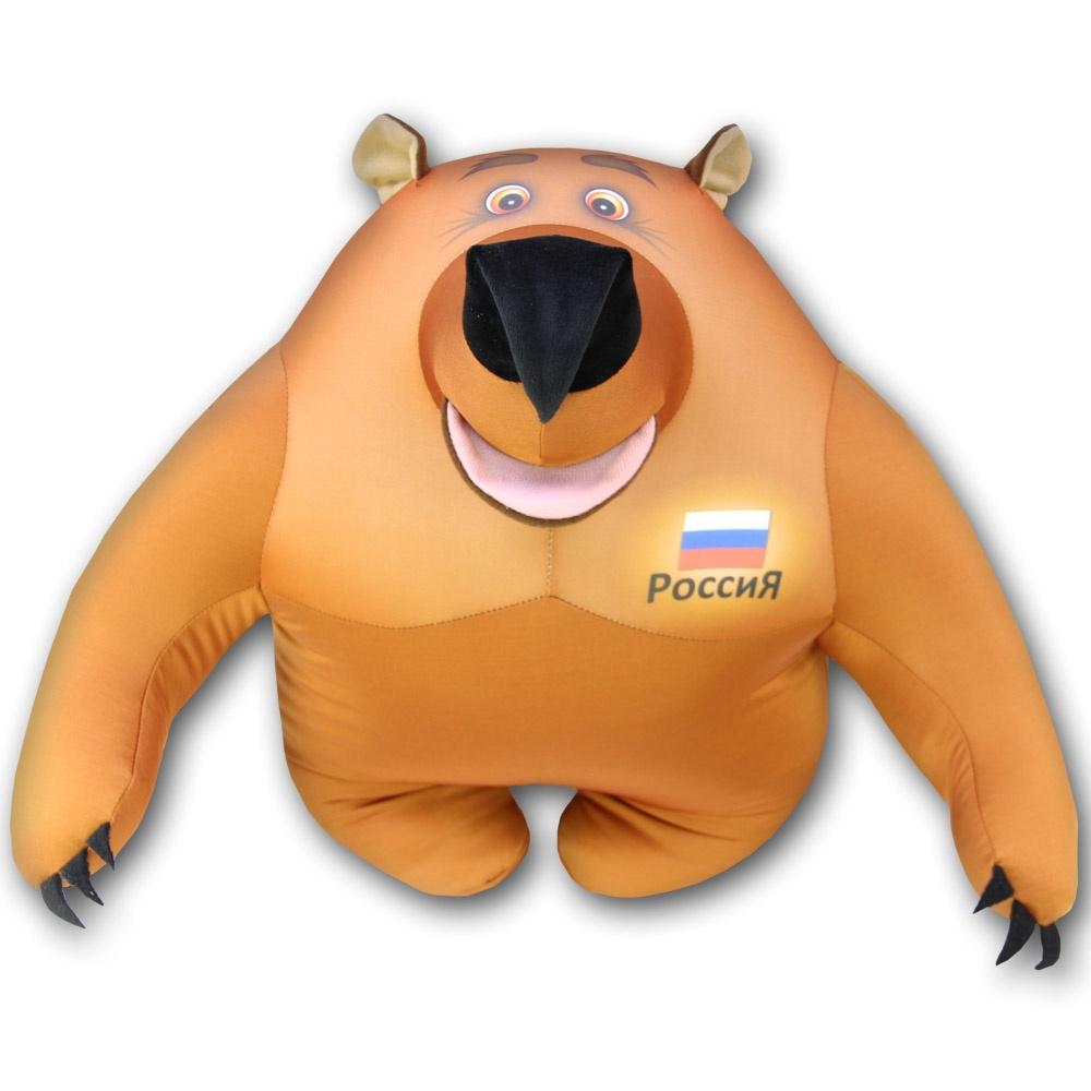 Штучки, к которым тянутся ручки Подушка-игрушка антистрессовая Медведь патриот большой