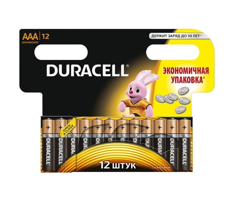 Дюраселл (Duracell) батарейка 12 шт AAA (миз.) mn 2400 ЛИСТ цена