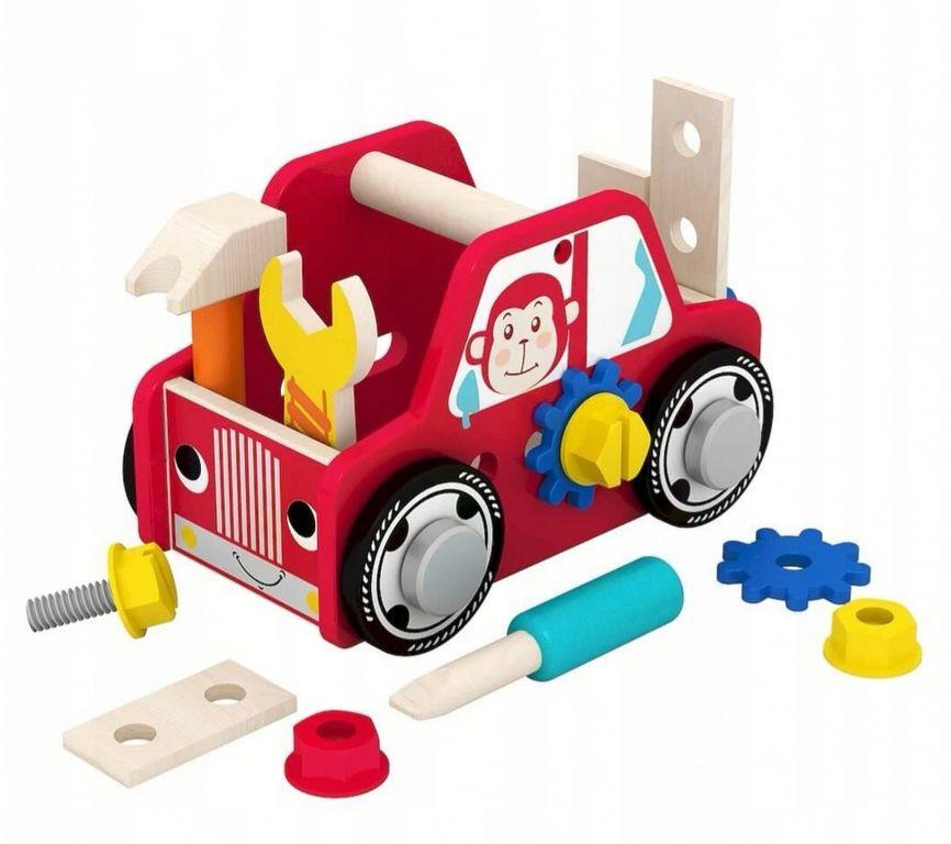 Деревянная машинка конструктор с набором детских столярных инструментами, BeeZee Toys,