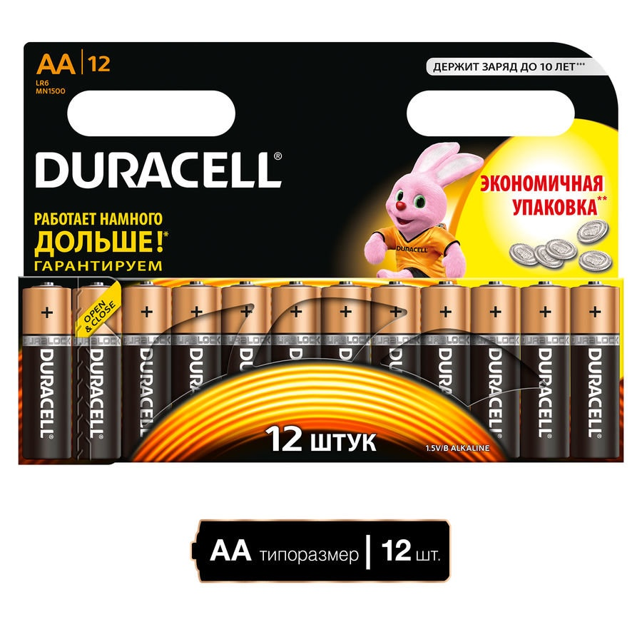 Дюраселл (Duracell) батарейка 12 шт AA (пальч.) mn1500 ЛИСТ цена и фото