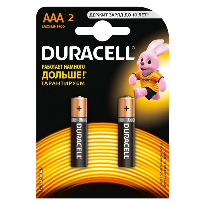Дюраселл (Duracell) батарейка 2-х шт AAA (миз.) mn 2400 цена и фото