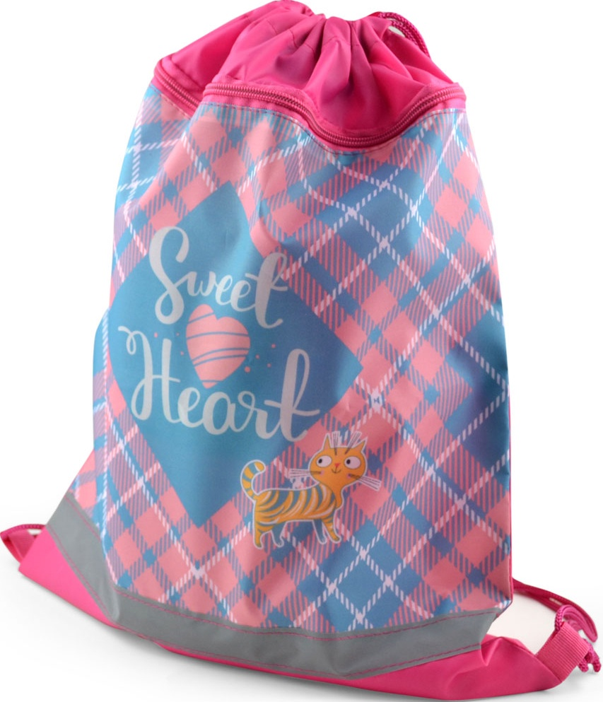 Сумка-мешок для сменной обуви BG Sweet heart с карманом и светоотражающей полосой на молнии