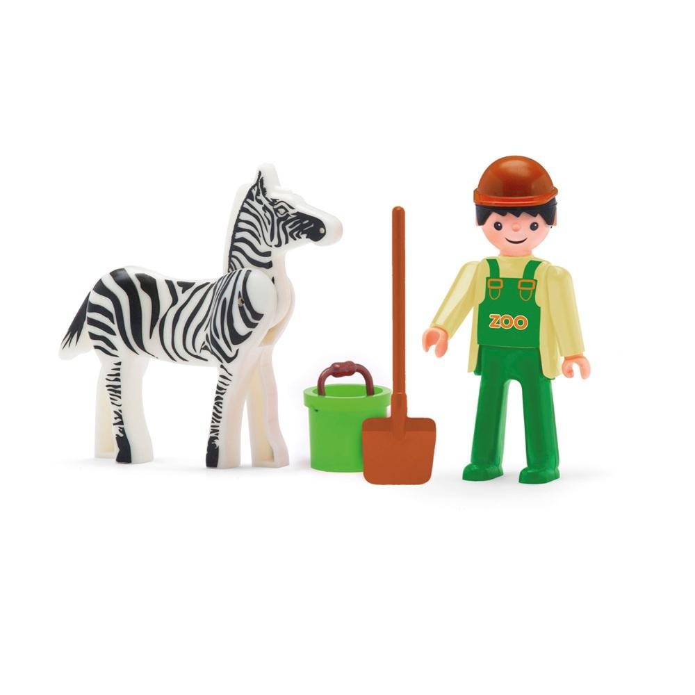 Сотрудник зоопарка, зебра и аксессуары