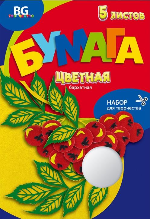 Набор цветной бархатной бумаги BG формата А4 в папке, 5 листов
