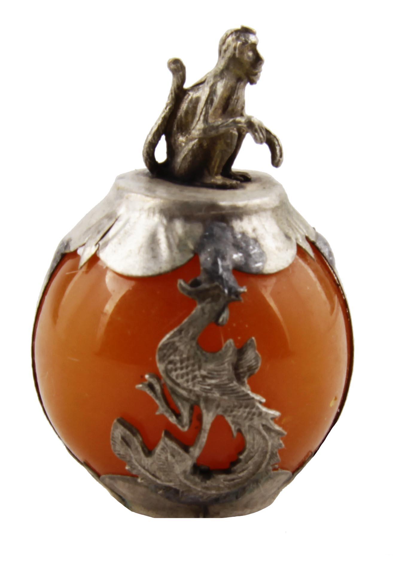 Настольный декор Обезьяна из коллекции Восточный гороскоп. Металл, чеканка, искусственный камень. Китай, вторая половина XX века