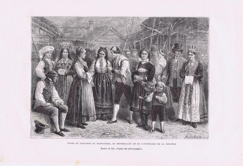 Норвежцы. Типы и костюмы. Ксилография. Франция, Париж, 1880 год