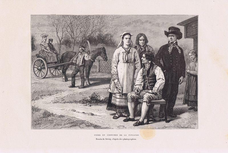 Финны, типы и костюмы. Ксилография. Франция, Париж, 1880 год