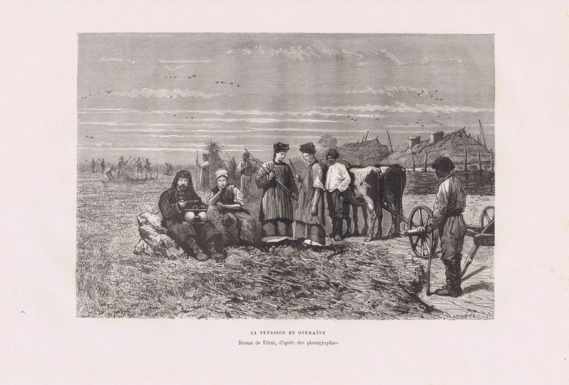 Украина, сенокос. Ксилография. Франция, Париж, 1880 год