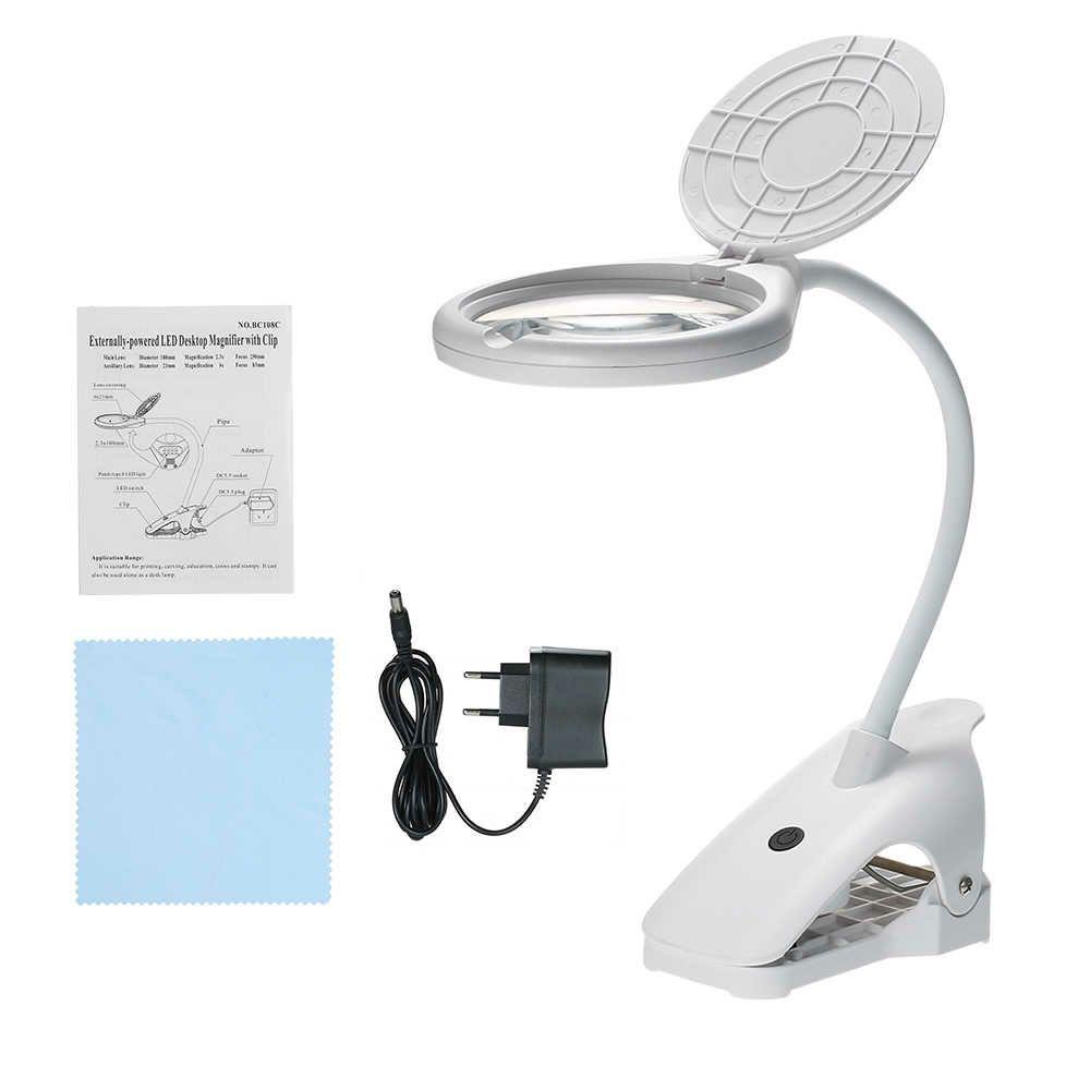 Лупа настольная с подсветкой на гибком штативе для рукоделия, шитья, чтения 2.3х, 6x, 120 мм (8 LED) лупа bresser брессер 2x 90 мм с подсветкой