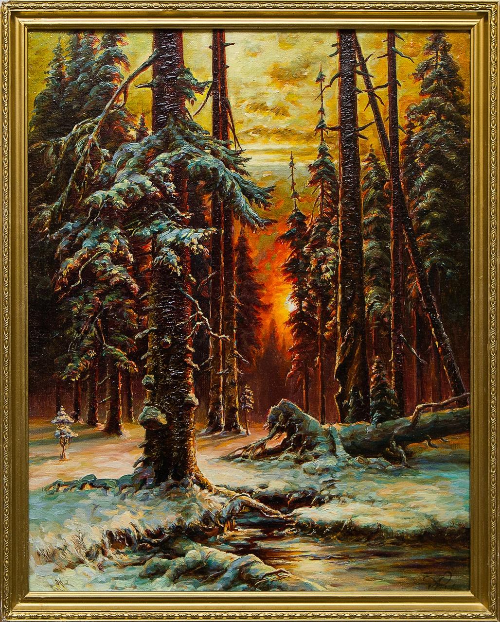 Картина маслом Зимний закат в еловом лесу Григорьев ю гладкий ал григорьев в ягья горизонты ойкумены
