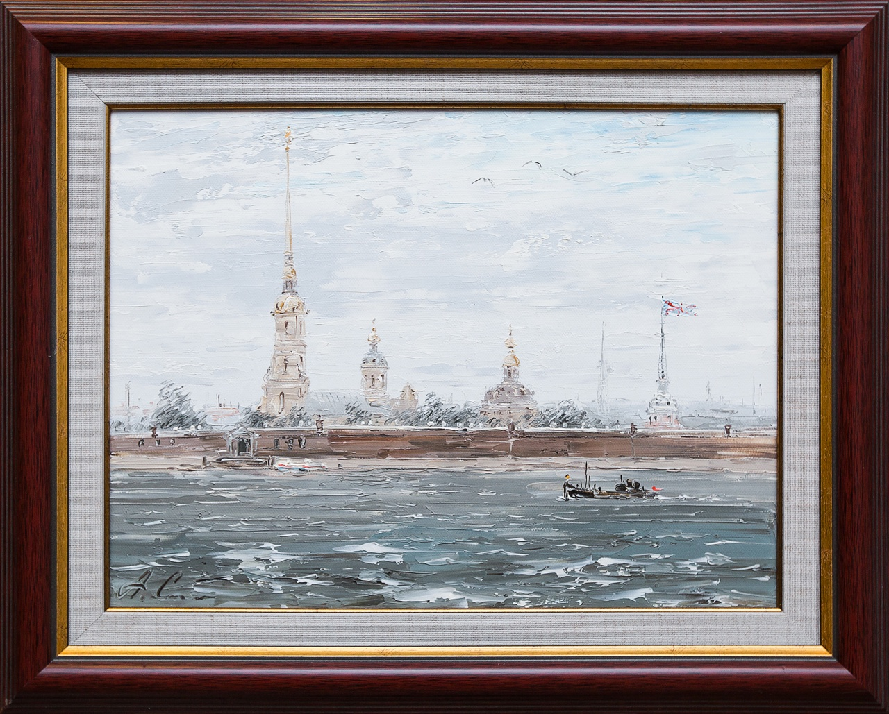 Картина маслом На Неве. Ветрено Стеняев картина весна на неве ильин