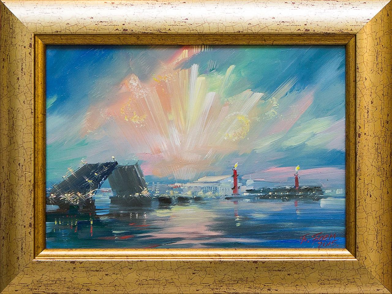 Картина маслом Салют над Невой Боем картина маслом владимирский собор боем