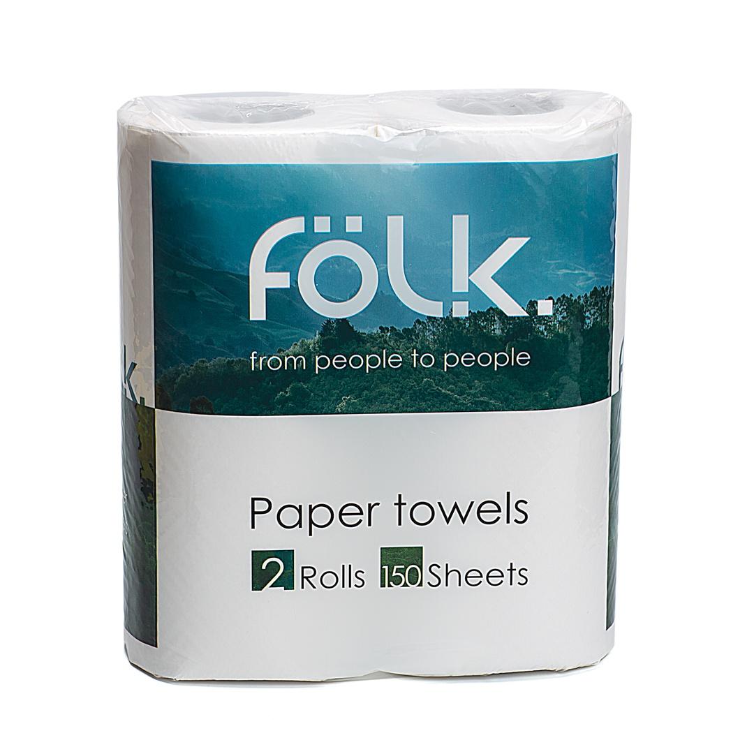 Бумажные полотенца Folk,двухслойные, 2 рулона в упаковке, 150 листов полотенца бумажные мягкий знак двухслойные цвет белый 4 рулона