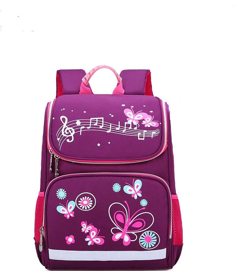 Ранец школьный-бабочки, темно-розовый