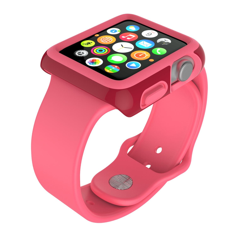 Чехол Speck CandyShell Fit для Apple Watch 38mm crimson red/splash pink аксессуар чехол eva silicone для apple watch 38mm transparent avc005t