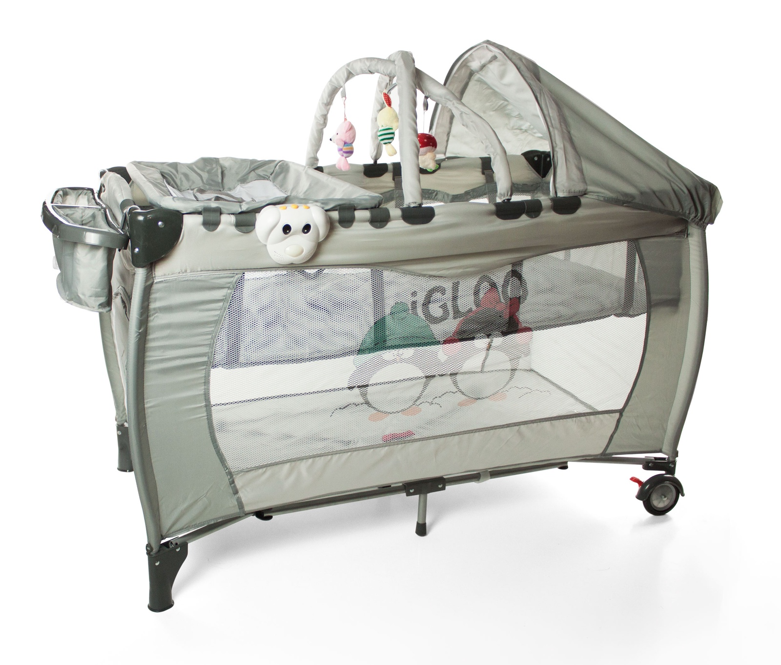 Кроватка - манеж Forkiddy Arena Lux New (серый пингвины)