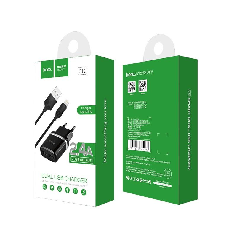 Сетевое зарядное устройство Hoco C12 2. 4A с кабелем Lightning для iPhone (Черный) сетевое зарядное устройство hoco uh202 smart charger 2usb 2 4a 0l 00038986 white