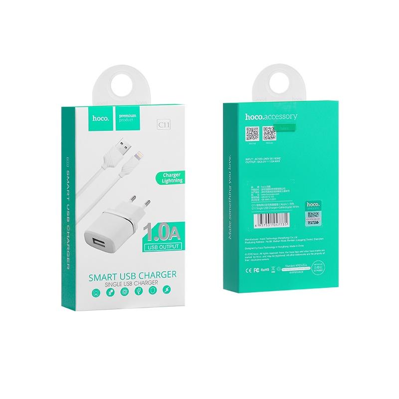 Сетевое зарядное устройство 2 в 1 Hoco C11, 1А, кабель Lightning, Белый цена