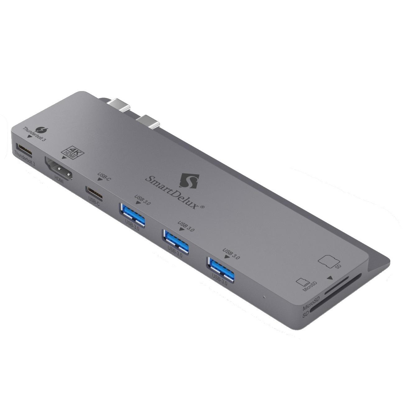 SmartDelux USB-концентратор 8-IN-1 для MacBook Pro, Space Gray, SDUC-P8S концентратор usb 3 0 orient bc 306ps usb 3 0 hub 4 ports c бп зарядником 2xusb 5в 2 1а выключатели на каждый порт черный