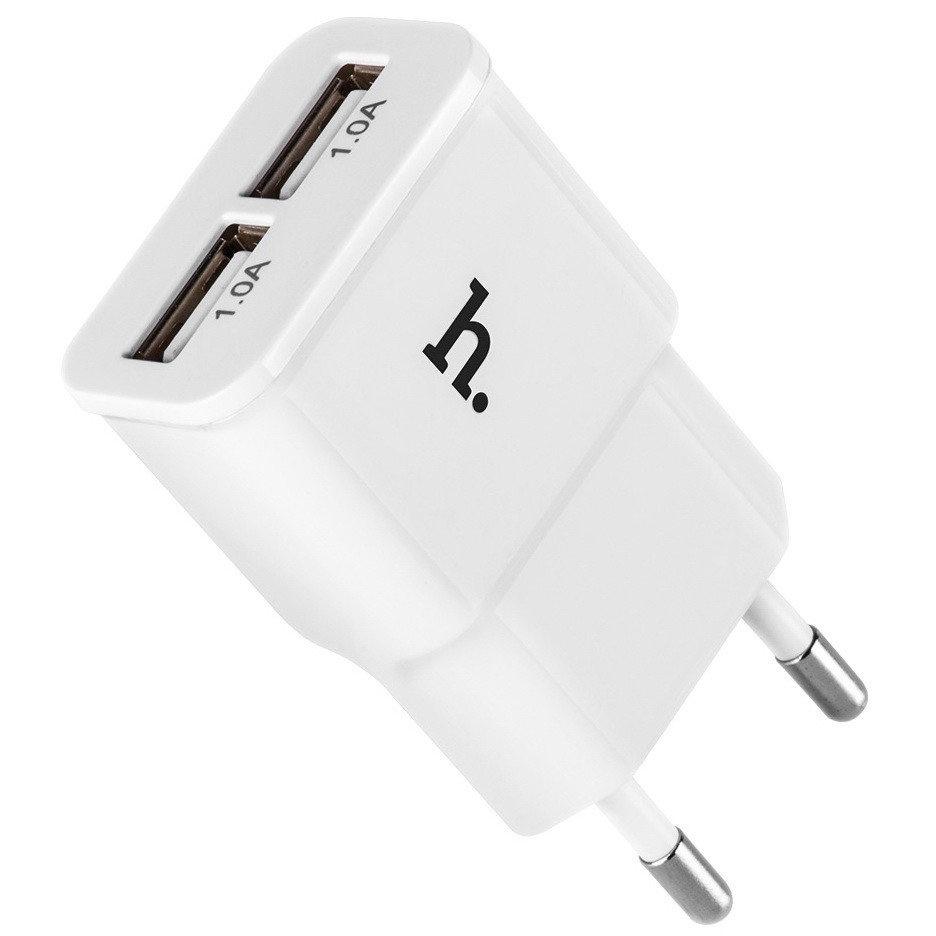 Зарядное устройство Hoco UH202 Dual Port 2.1 A, белое сетевое зарядное устройство hoco uh202 smart charger 2usb 2 4a 0l 00038986 white