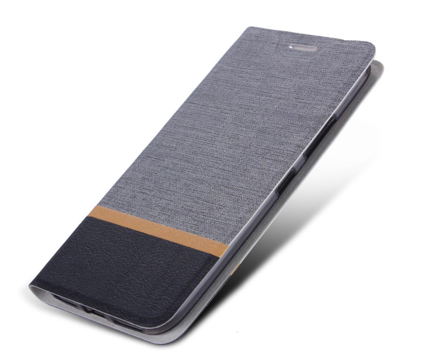 Чехол-книжка MyPads для ZTE Blade A530 на жёсткой металлической основе серый