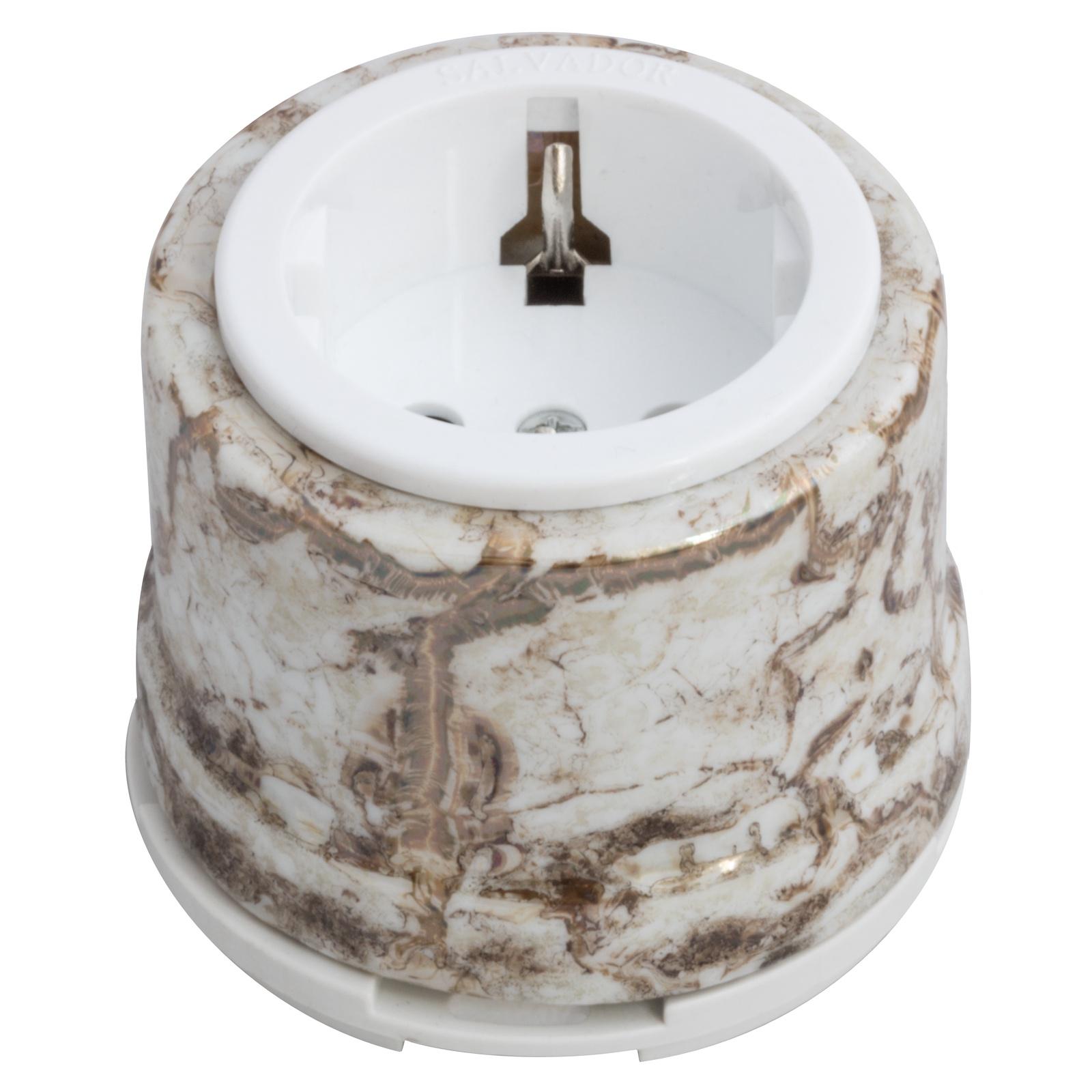 Розетка электрическая Salvador Ретро мрамор серия для наружного монтажа электрическая розетка siemens 10a