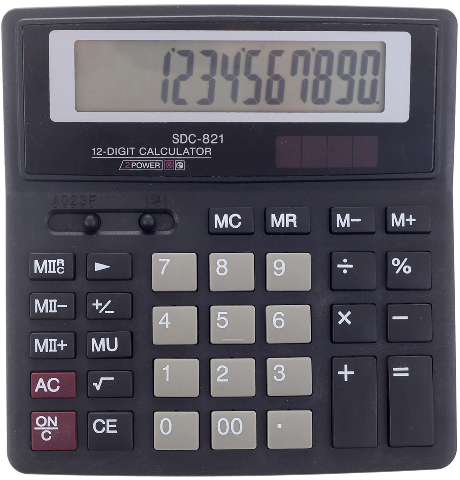 Калькулятор SDC-821, настольный, 12-разрядный, 589584, мультиколор