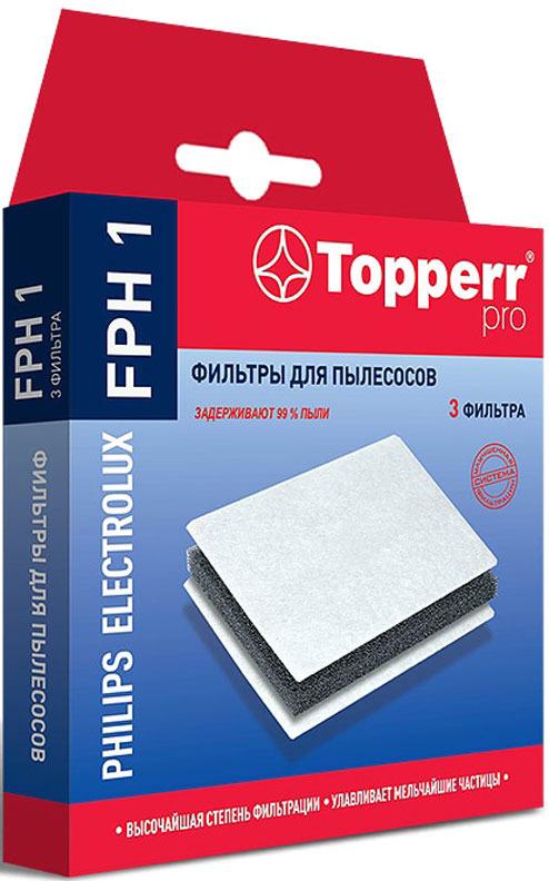 Комплект фильтров Topper 1156 FPH 1, для пылесоса Philips, Electrolux, Bork, тип EF74