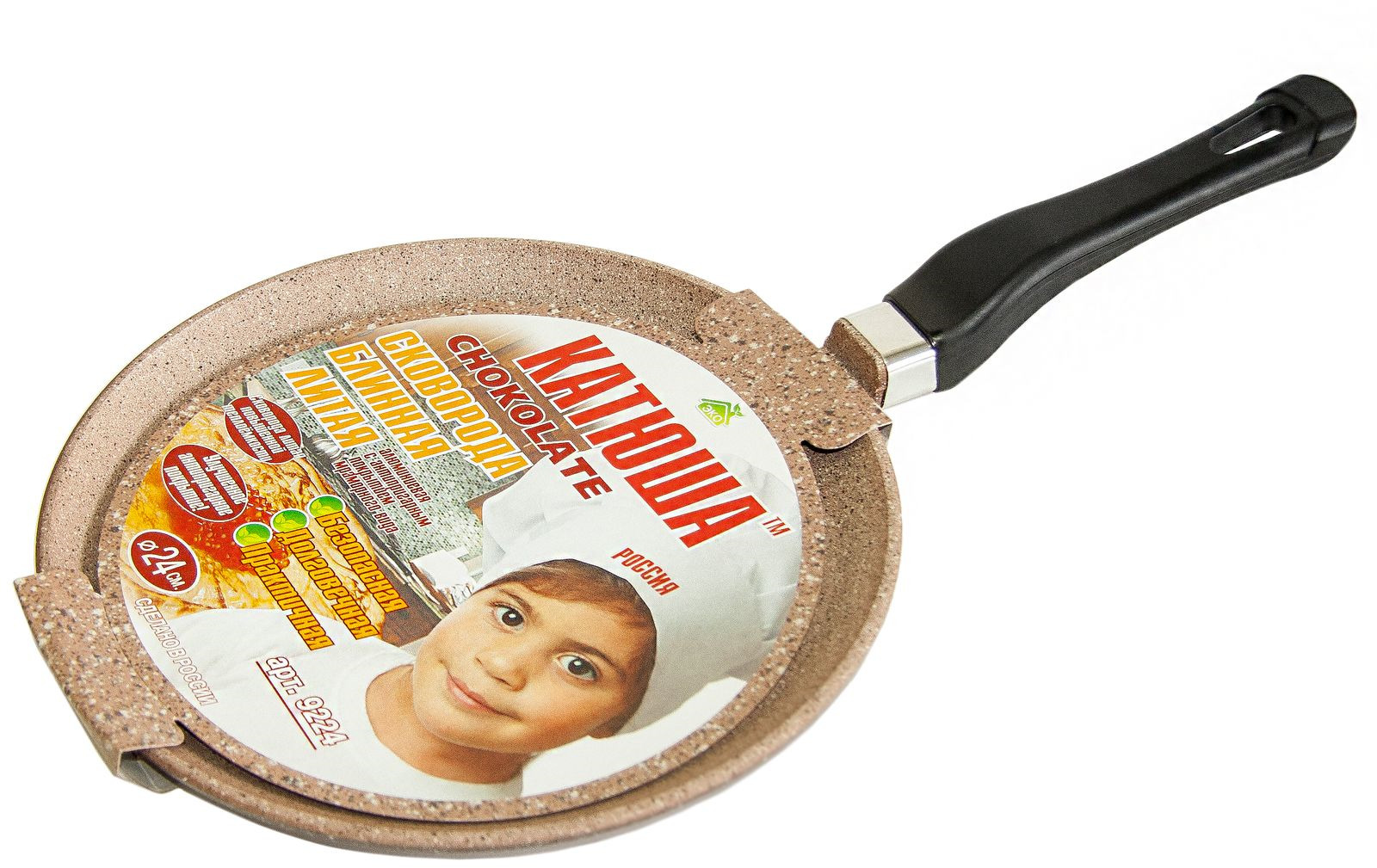 """Сковорода для блинов Катюша """"Комфорт"""", шоколадный гранит, с антипригарным покрытием, диаметр 20 см"""