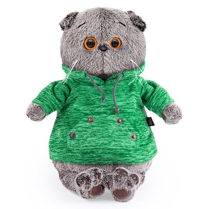 Мягкая игрушка Budi Basa Кот Басик в зеленой толстовке с карманом-кенгуру, 25 см