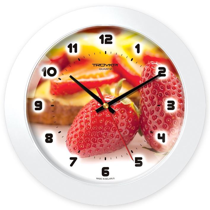 Настенные часы Troyka белый клубничка цена 2017