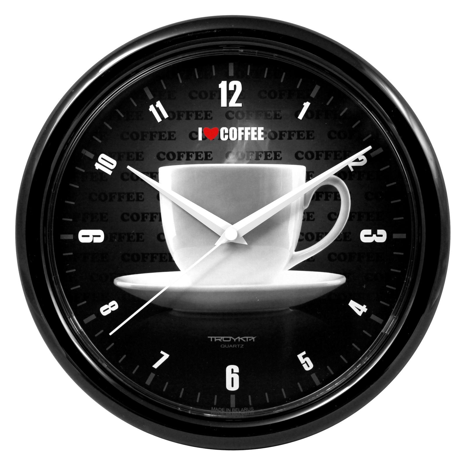 Настенные часы Troyka черный чашечка кофе цена 2017