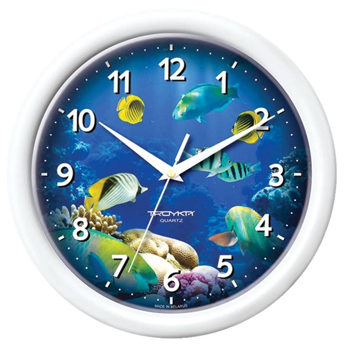 Настенные часы Troyka белый подводный мир цена 2017