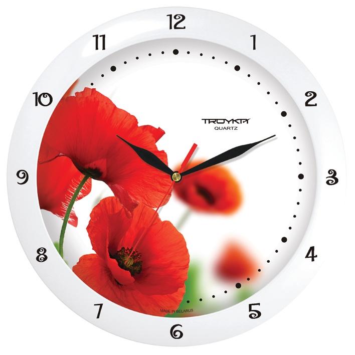 Настенные часы Troyka белый маки цена 2017