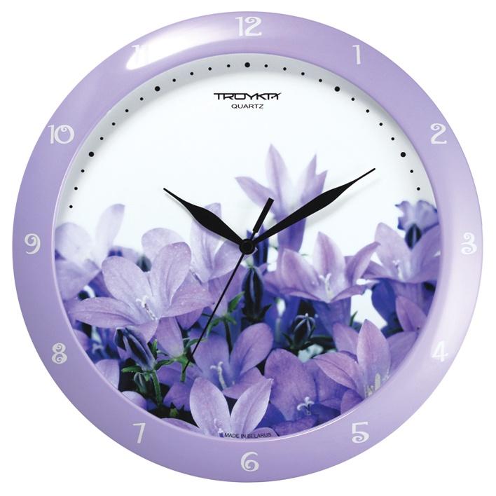 Настенные часы Troyka сиреневый крокусы цена 2017