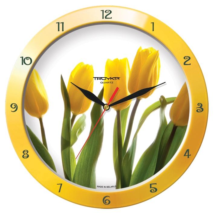 Настенные часы Troyka желтый желтые тюльпаны цена 2017