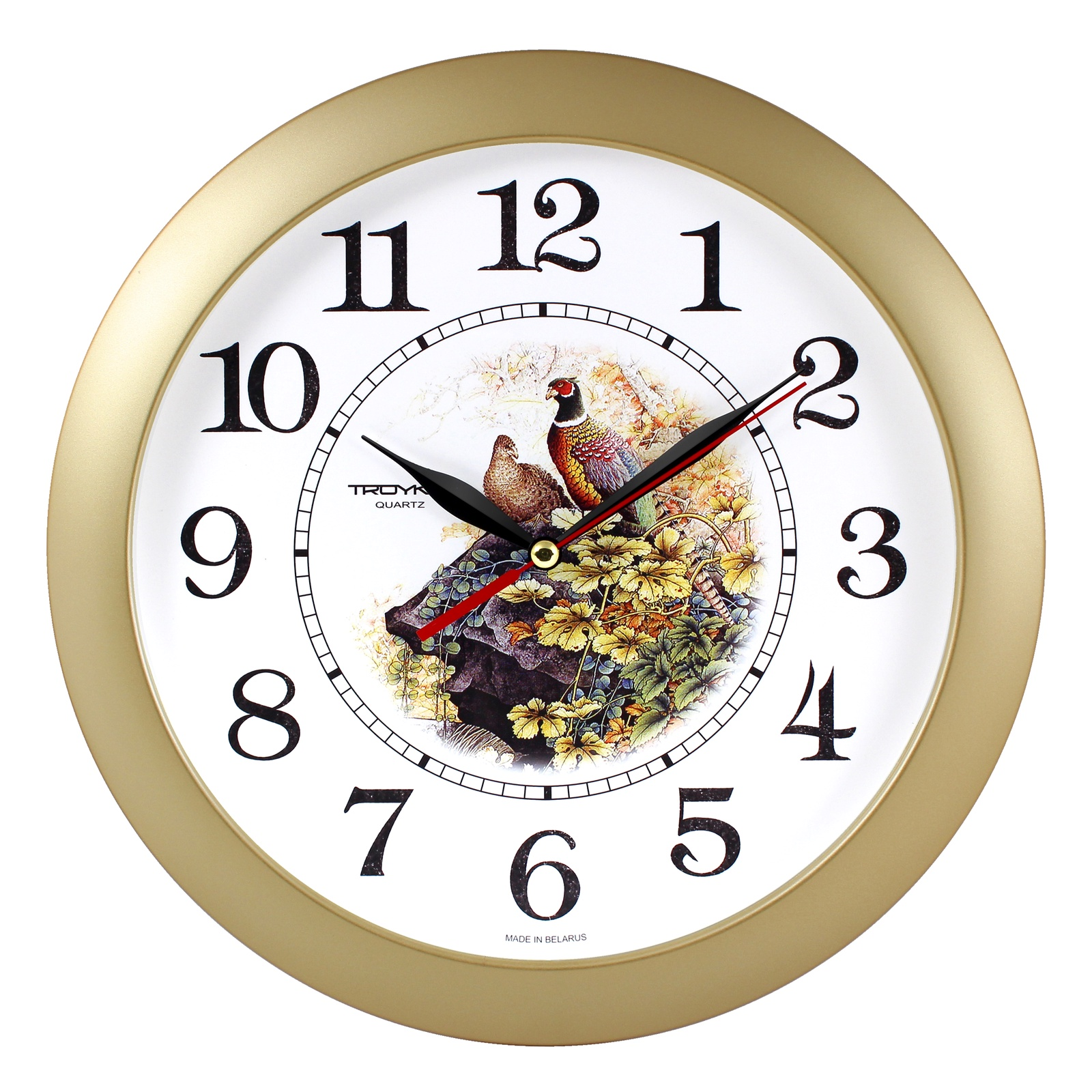 Настенные часы Troyka золото фазаны цена 2017