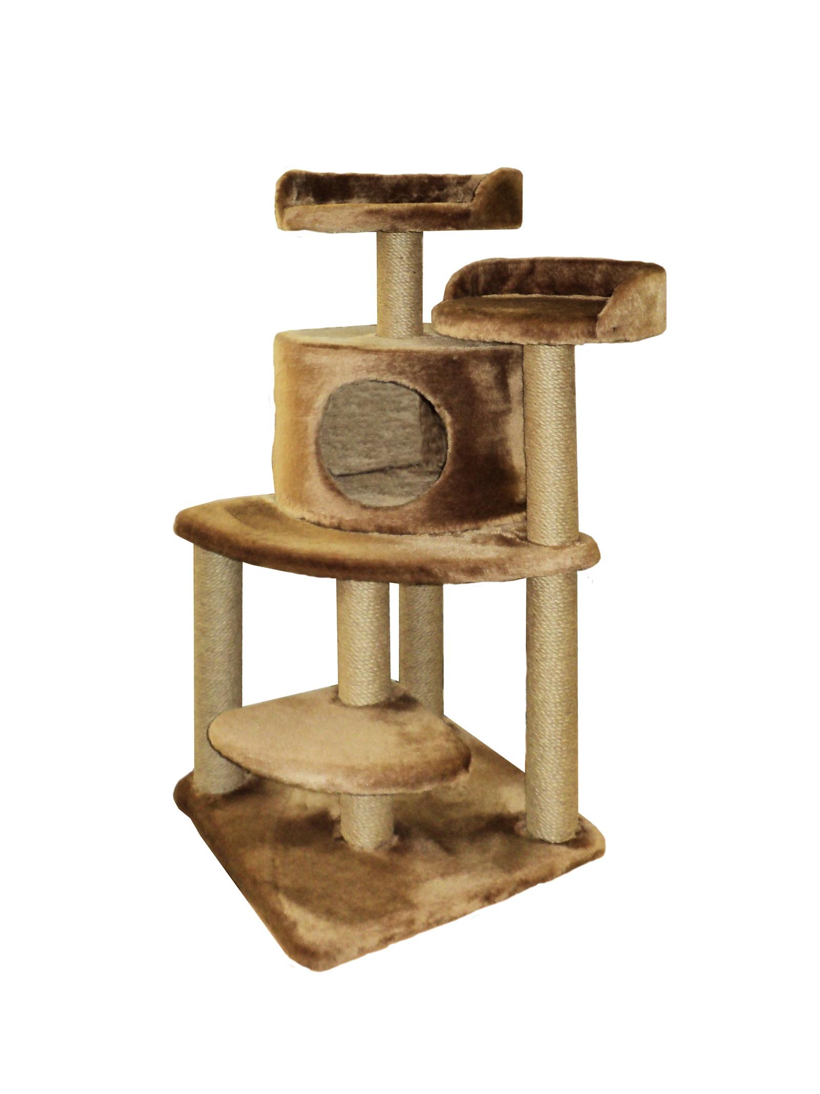 Домик - когтеточка Майя, коричневый, джут 50х50х100 домик когтеточка барсик серый джут 60х60х110