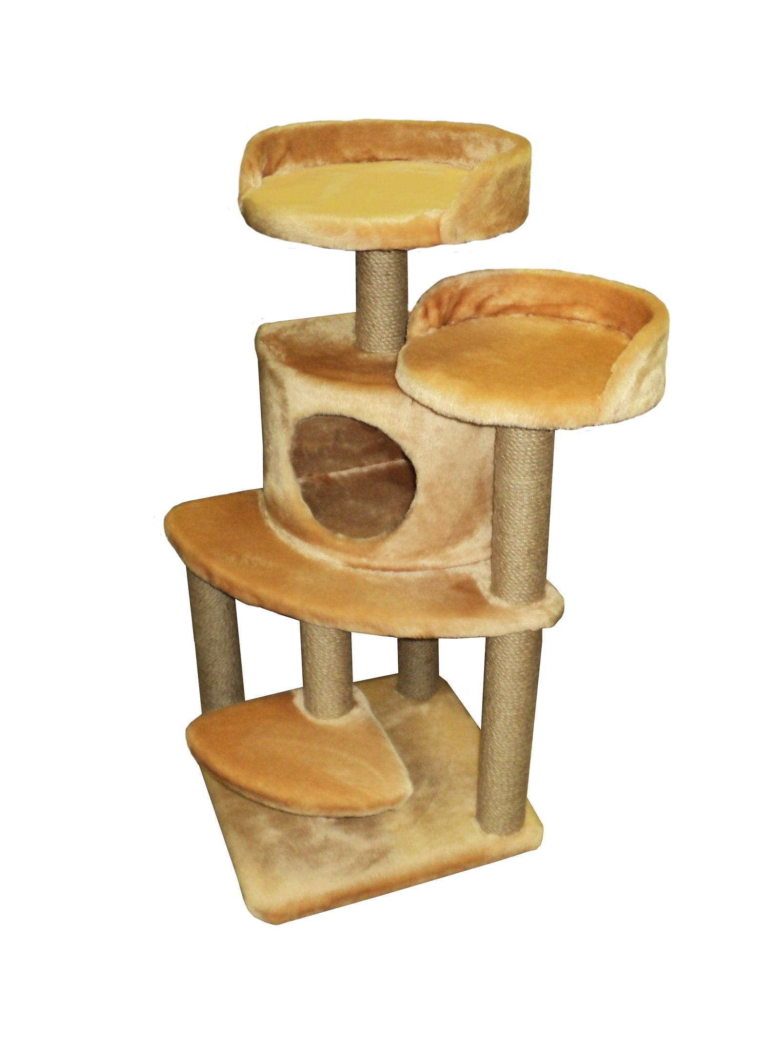 Домик - когтеточка Майя, кремовый, джут 50х50х100 домик когтеточка барсик серый джут 60х60х110