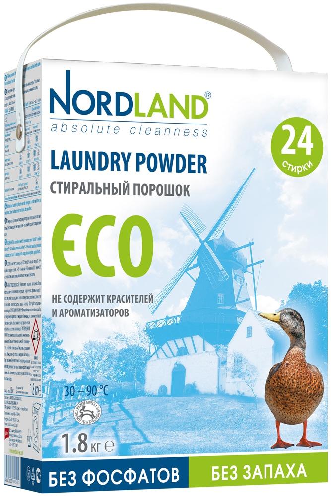 Стиральный порошок Nordland Eco для белых и цветных тканей, 1,8 кг порошок стиральный я родился для белых тканей 2 4 кг