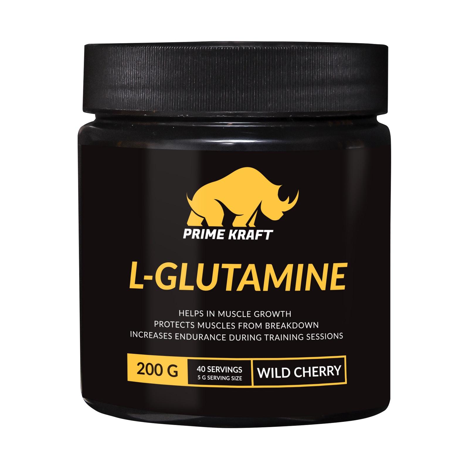купить Напиток сухой Prime Kraft L-Glutamine, коктейль фруктово-ягодный, дикая вишня, 200 г недорого
